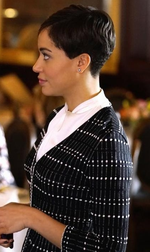 Cush Jumbo with Alexander McQueen Pleated Knit Peplum Top in The Good Fight
