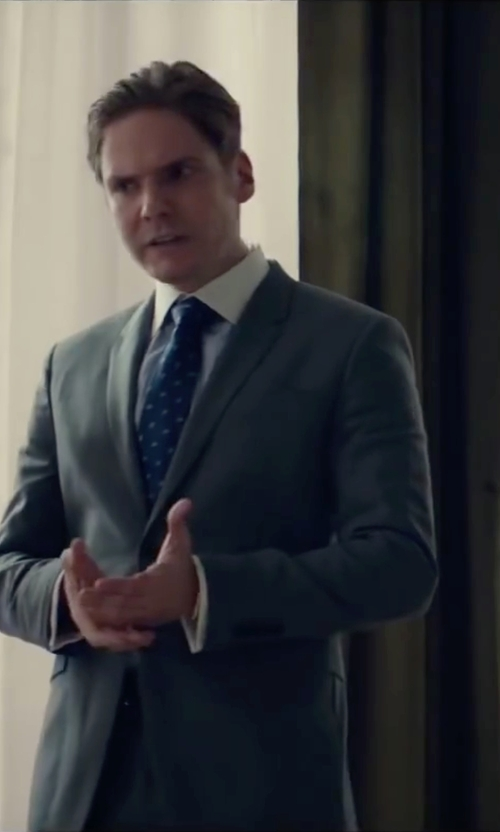 Daniel Brühl with Canali Regular Fit Dobby Dress Shirt in Burnt