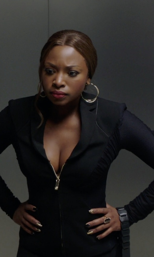 Naturi Naughton with Versace Mesh & Stretch Jersey Jacket in Power