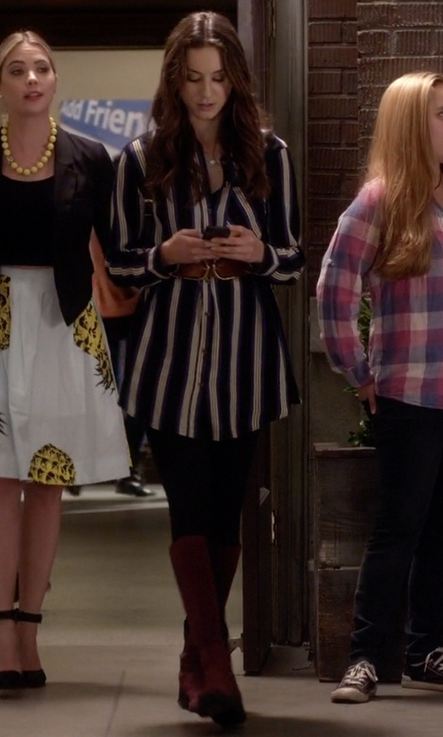 Troian Bellisario with Cole Haan Women's Jodhpur Knee-High Boots in Pretty Little Liars