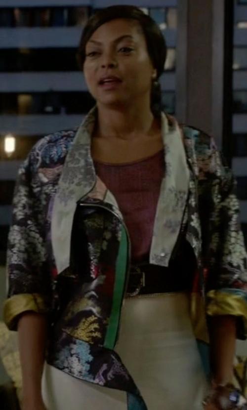 Taraji P. Henson with Johnny Was Tappa Silky Velvet Print Jacket in Empire