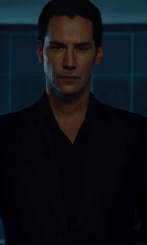 Keanu Reeves with Giorgio Armani Made to Measure Classic Black Suit in Man of Tai Chi