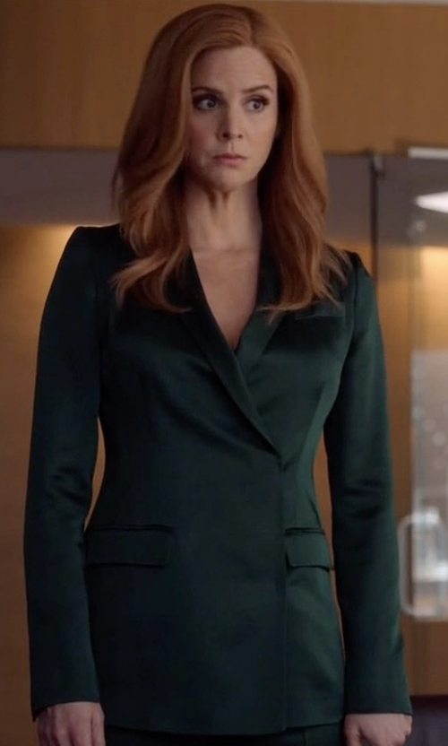 Sarah Rafferty with Christopher Kane Safety Pin-embellished Cady Blazer in Suits
