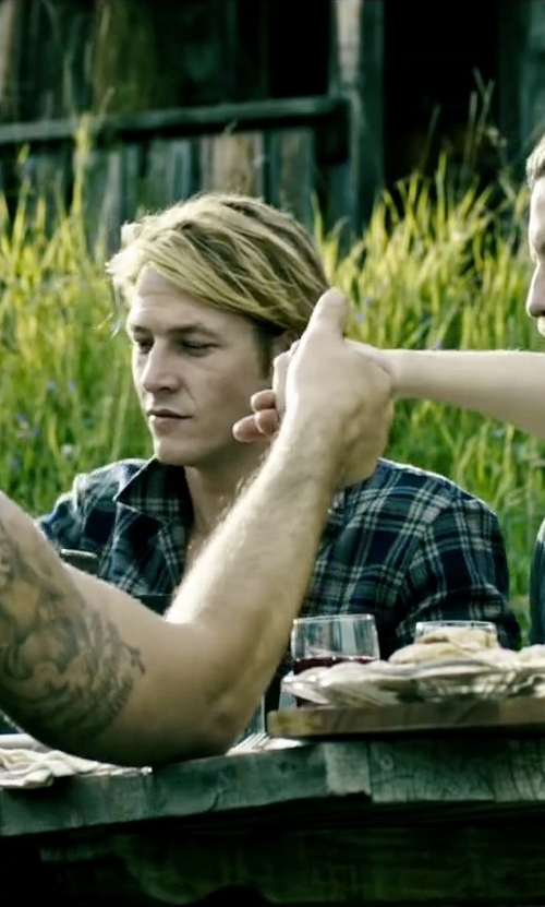Luke Bracey with Vince Plaid Military Button Down Shirt in Point Break