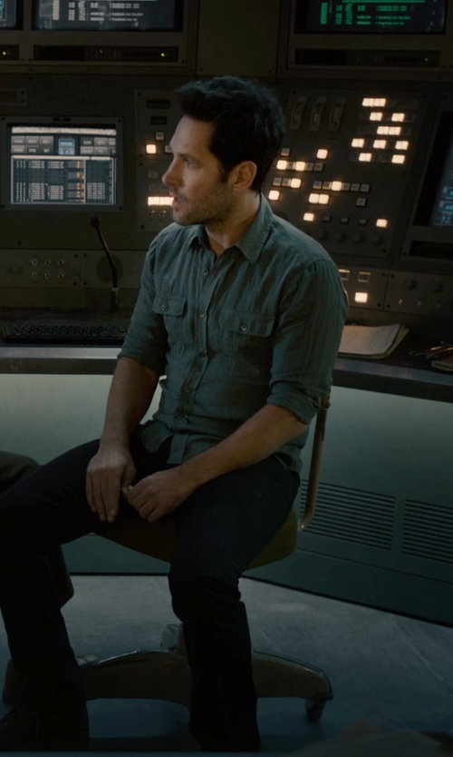 Paul Rudd with Theory Blue Barham Turini Denim Sportshirt in Ant-Man