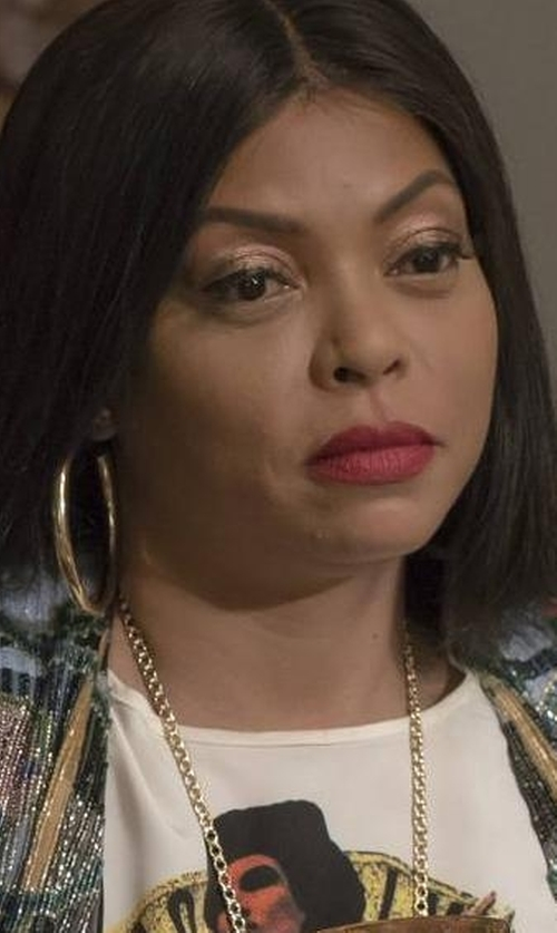 Taraji P. Henson with Lana Small Flat Oval Magic Hoop Earrings in Empire
