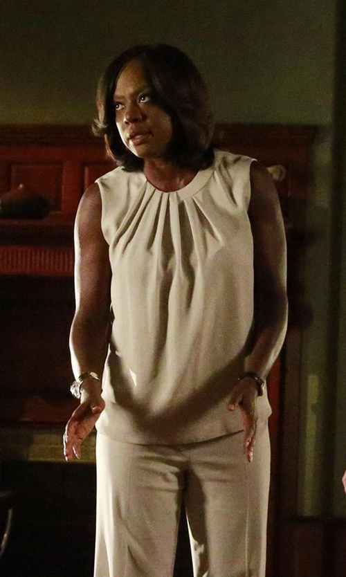 Viola Davis with Giorgio Armani Pleated Neck Tank Top in How To Get Away With Murder