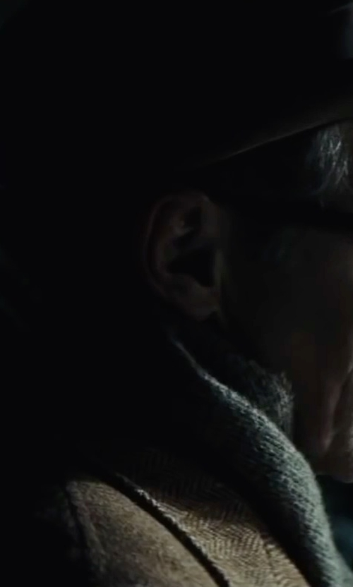 Mark Rylance with Bar III Carnaby Collection Slim-Fit Brown Tweed Herringbone Jacket in Bridge of Spies