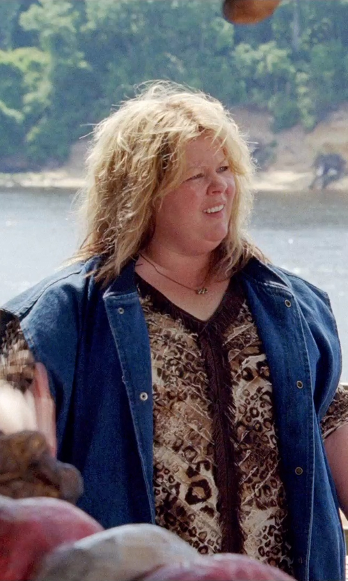 Melissa McCarthy with Vince Camuto Destroyed Denim Vest in Tammy