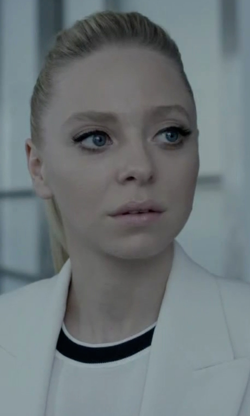 Portia Doubleday with Milly Slim-Fit One-Button Blazer in Mr. Robot