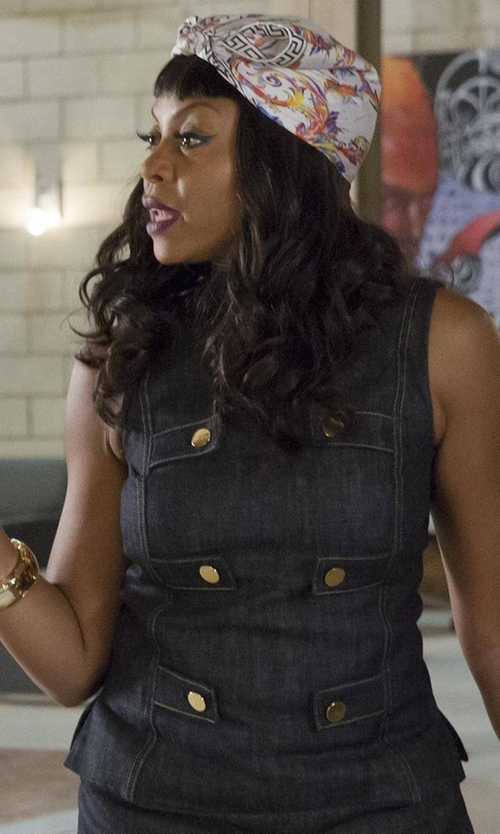 Taraji P. Henson with Derek Lam Indigo Denim Sleeveless Military Top in Empire