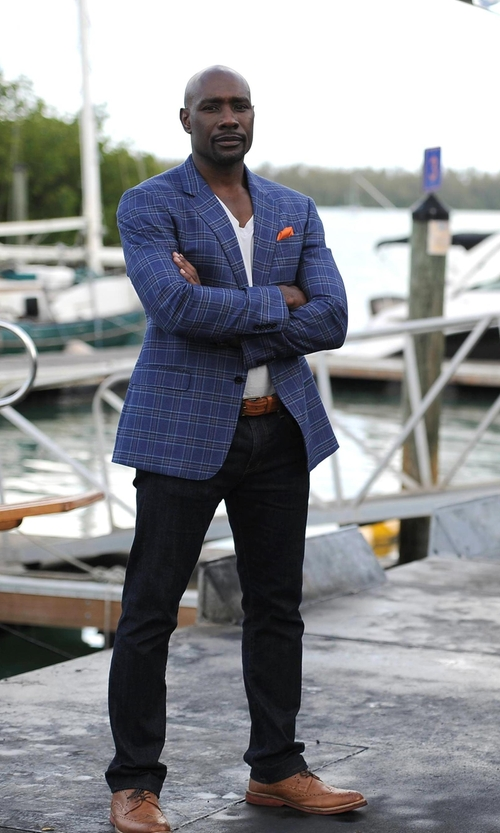 Morris Chestnut with J.Z. Richards Silk Pocket Square in Rosewood