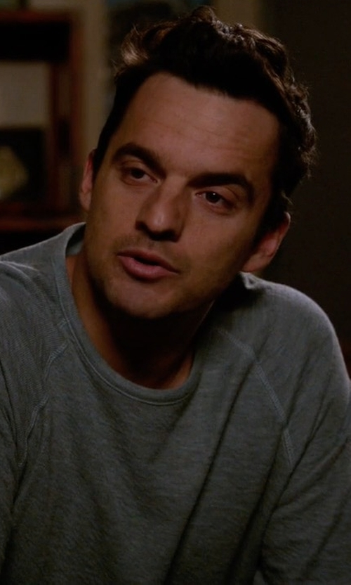 Jake Johnson with James Perse Sueded Jersey Raglan T-Shirt in New Girl