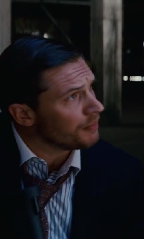 Tom Hardy with Jeffrey Kurland (Costume Designer) and Anto of Beverly Hills (Tailor) Custom Made Contrast-Collar Striped Dress Shirt in Inception