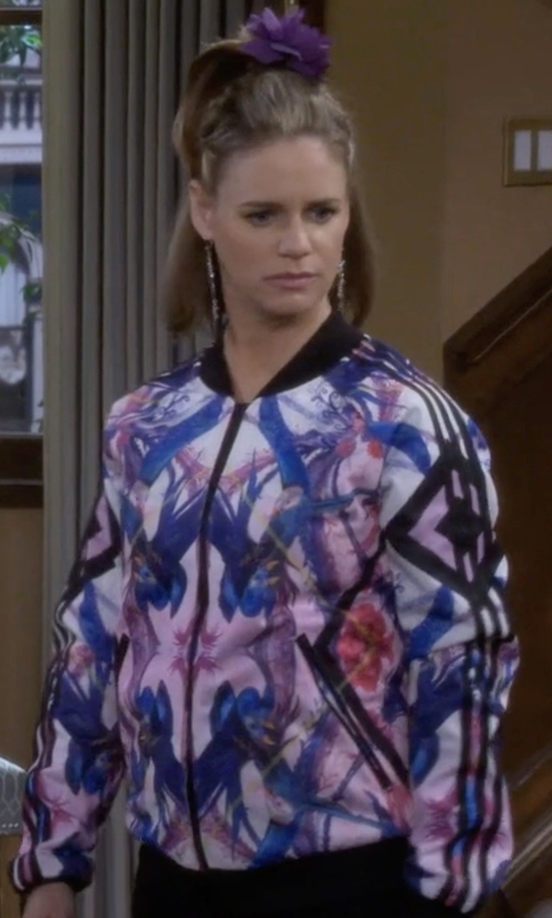 Andrea Barber with Allegra K Floral Print Casual Bomber Jacket in Fuller House