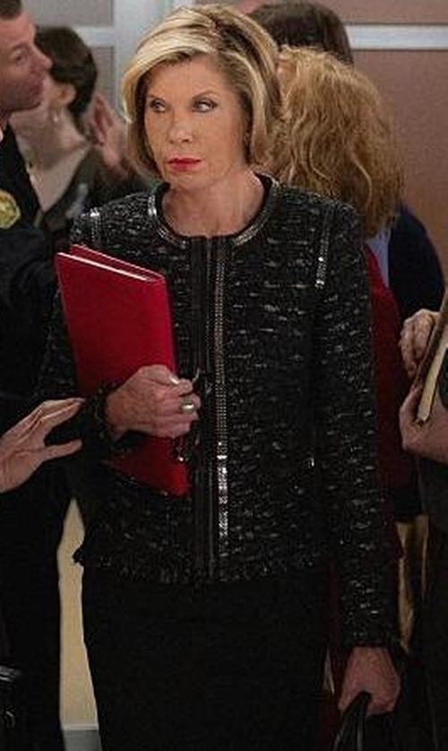 Christine Baranski with Escada Dondi Zip-Chain Jacket in The Good Wife