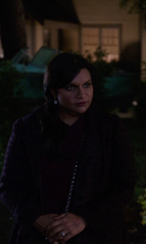 Mindy Kaling with Steve Madden Belted Houndstooth Coat in The Mindy Project