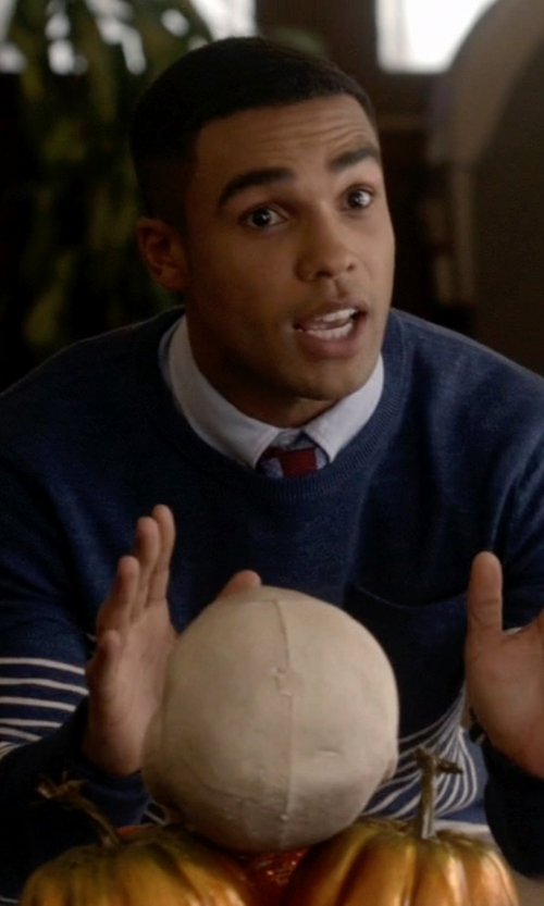 Lucien Laviscount with J.Crew Engineer-Striped Pocket Sweater in Scream Queens