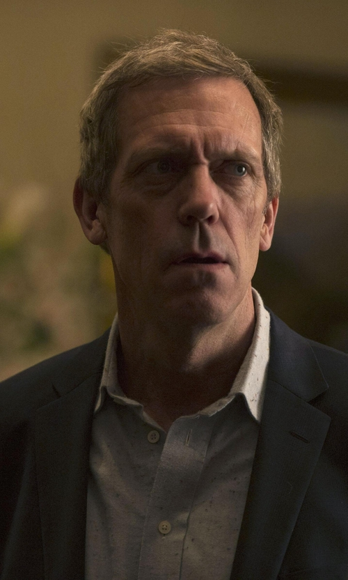 Hugh Laurie with Vince Camuto Two Button Notch Lapel Wool Suit Jacket in The Night Manager
