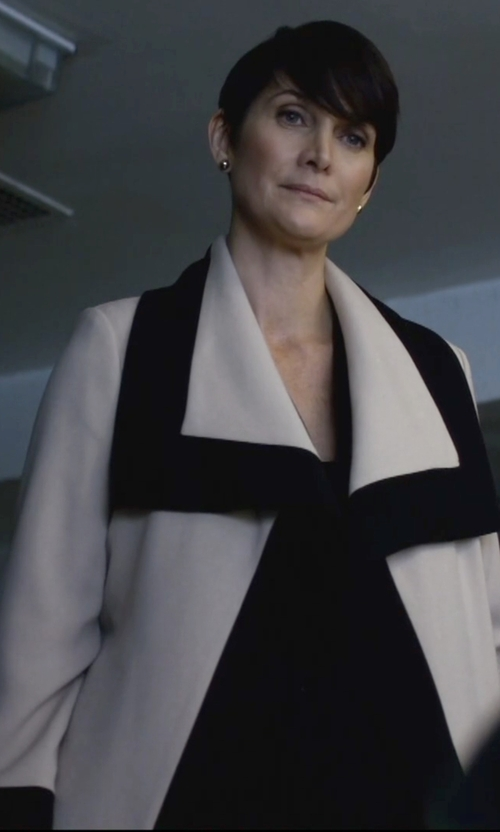 Carrie-Anne Moss with The Row Augustus Two-Tone Wool And Silk-Blend Wrap Coat in Jessica Jones