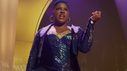 Ester Dean with Custom Navy Corset in Pitch Perfect 2