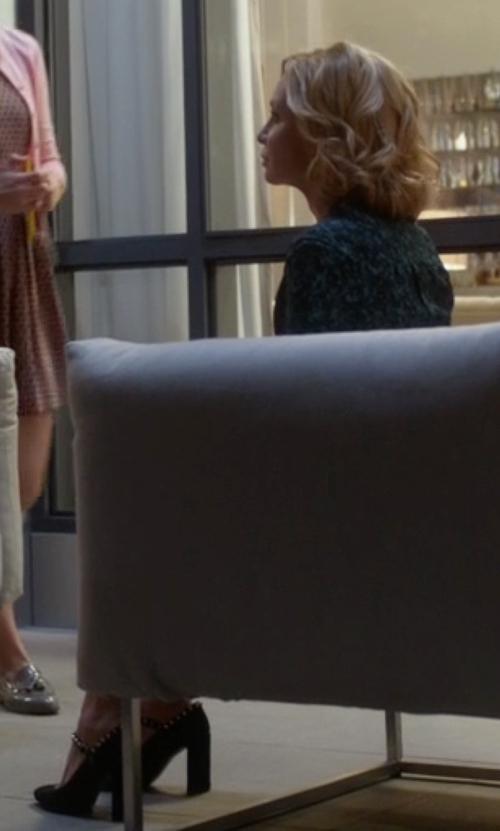 Calista Flockhart with Stuart Weitzman Suchastud Leather Mary Jane Pumps in Supergirl