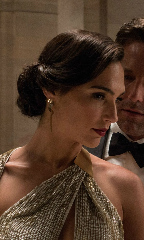 Gal Gadot with Marni Gold-Plated Earrings in Batman v Superman: Dawn of Justice