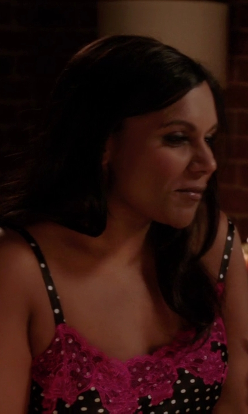 Mindy Kaling with Josie Natori Polka Dots Chemise in The Mindy Project