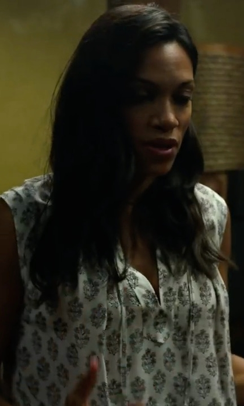 Rosario Dawson with Rebecca Taylor Sleeveless Valentina Top in Marvel's Iron Fist