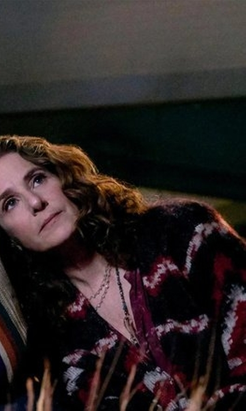 Debra Winger with Romeo & Juliet Couture Printed Cardigan in The Ranch