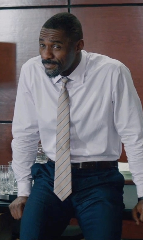Idris Elba with Zanella Parker Platinum Flat-Front Trousers in Molly's Game
