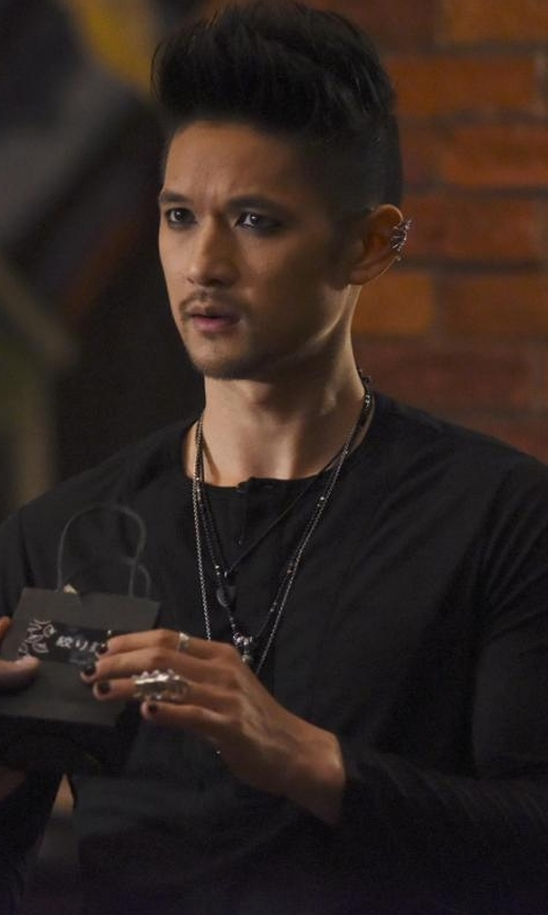 Harry Shum Jr. with Ralph Lauren Pima Cotton Henley in Shadowhunters