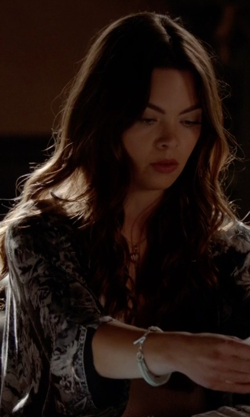Scarlett Byrne with Ann Demeulemeester Bead Detail Clasp Bracelet in The Vampire Diaries