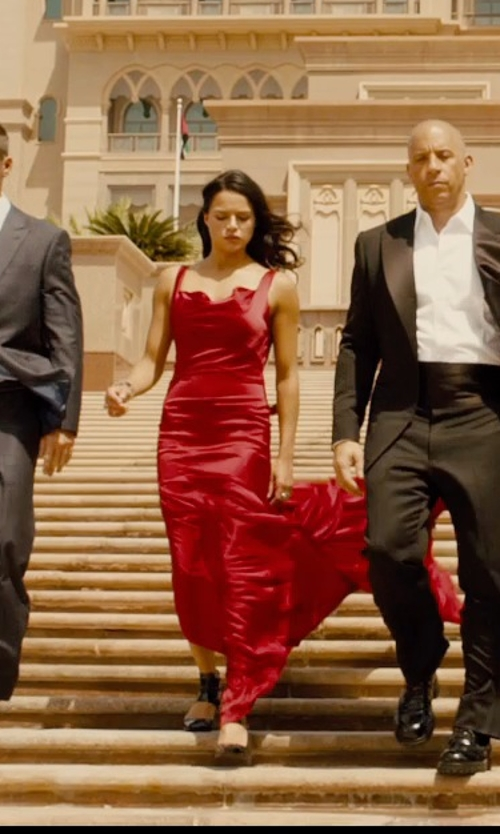 Michelle Rodriguez with Gucci 'Ursula' T-Strap Pump in Furious 7