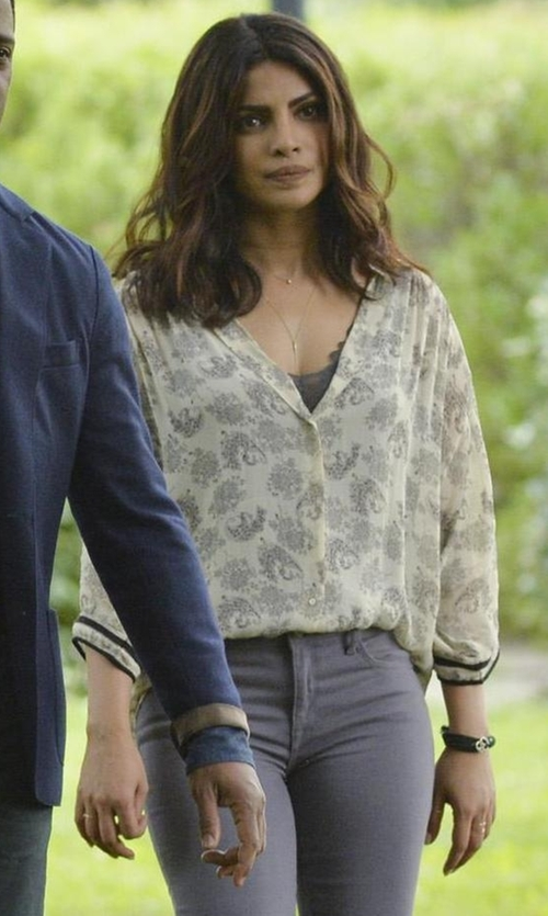 Priyanka Chopra with Alexis Bittar Crystal & Leather Wrap Bracelet in Quantico