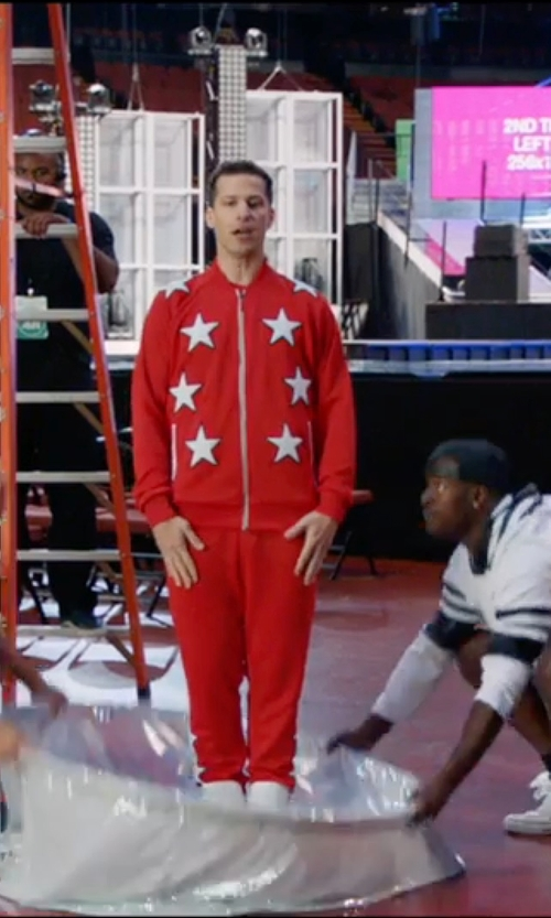 Andy Samberg with Love Moschino Bomber Jacket in Popstar: Never Stop Never Stopping