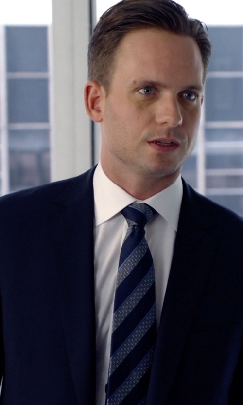 Patrick J. Adams with Hugo Boss Medium Blue Microcheck Super 100s Virgin Wool 2-Button 'James 3 / Sharp 5' Suit With Flat Front Pants in Suits