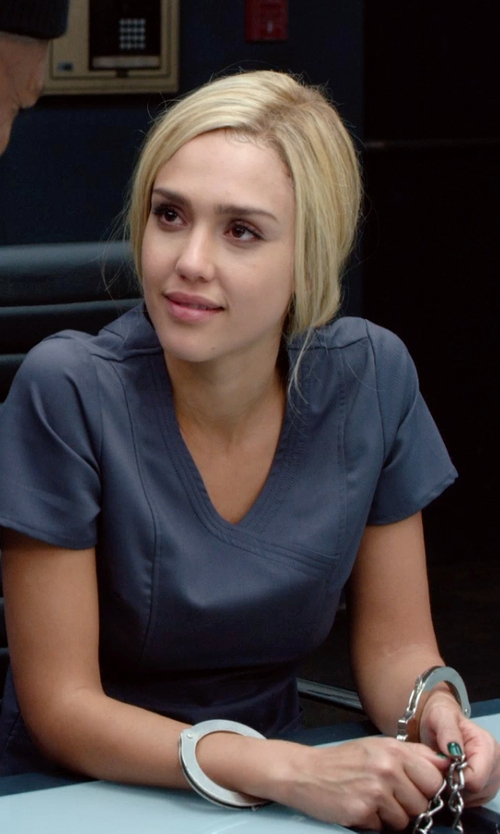 Jessica Alba with Wonderwink The Charllie Fit Y-Neck Scrub Top in Barely Lethal