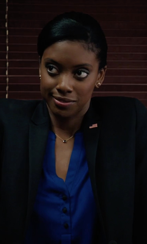 Condola Rashad with Helmut Lang Seamed Lapel Jacket in Billions
