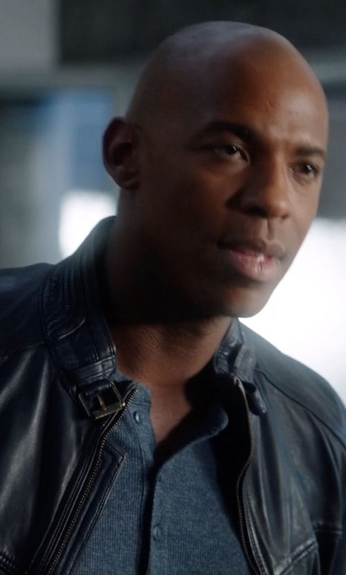 Mehcad Brooks with Massimo Dutti Blue Nappa Leather Jacket in Supergirl