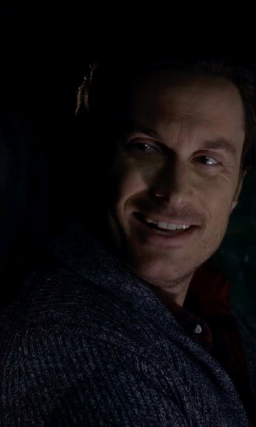 Oliver Hudson with John Varvatos Stitch Shawl Collar Cardigan in Scream Queens