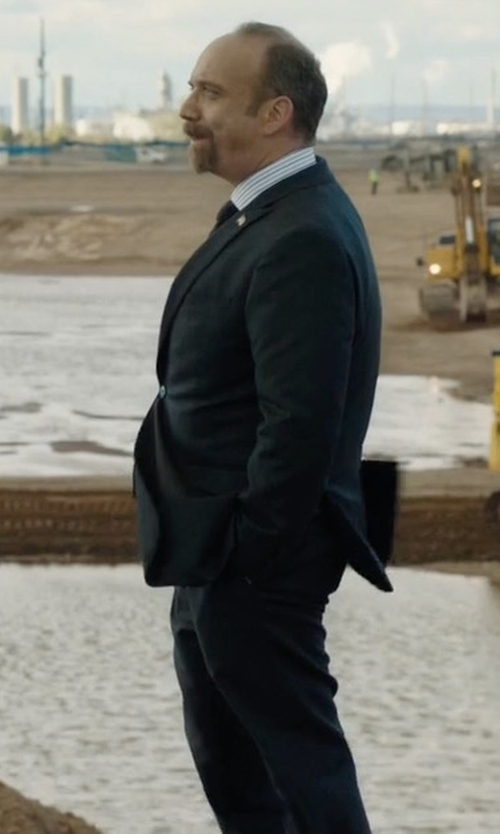 Paul Giamatti with Boss Micro-Nailhead 3-Piece Suit in Billions