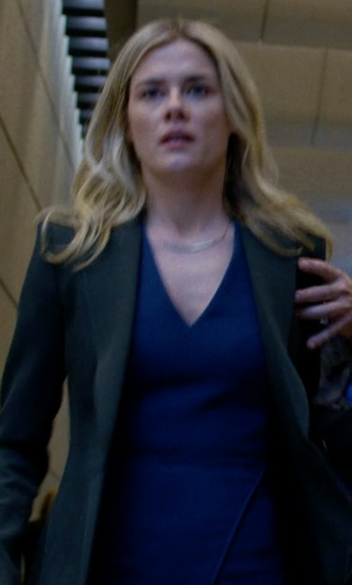 Rachael Taylor with Victoria Beckham Fitted V-Neck Dress in Jessica Jones