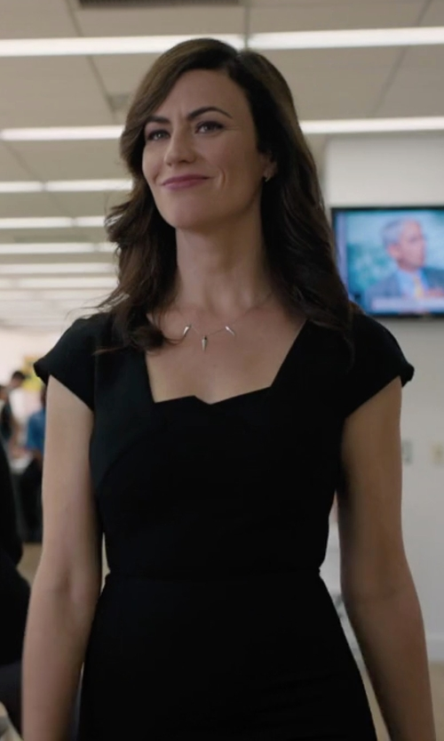 Maggie Siff with Zac Zac Posen Joni Cap-Sleeve Bodycon Cocktail Dress in Billions