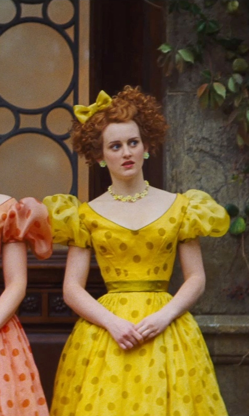 Sophie McShera with Sandy Powell (Costume Designer) Custom Made Yellow Floral Earrings (Drizella) in Cinderella