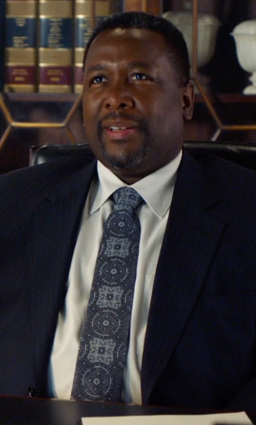 Wendell Pierce with Brioni Wheel Medallion-Print Tie in Suits