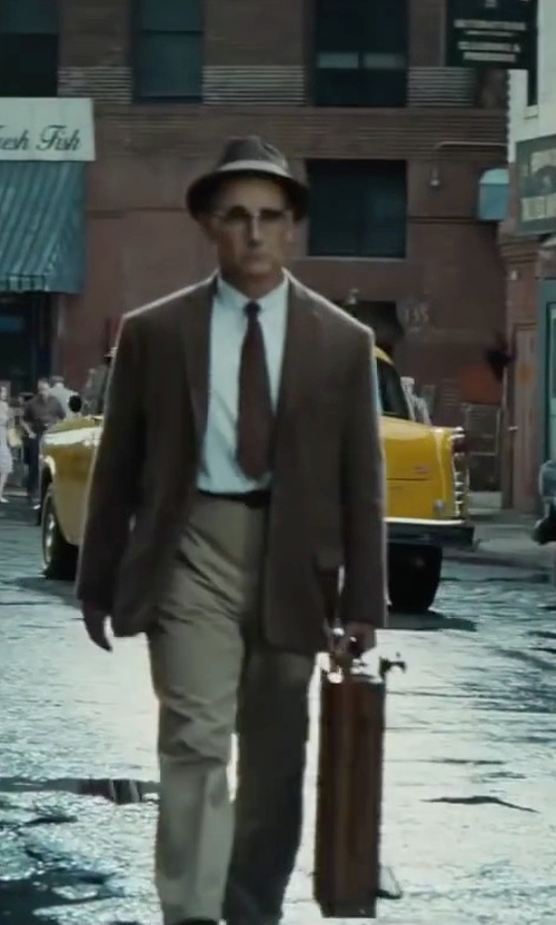 Mark Rylance with Brooks Brothers Solid Repp Tie in Bridge of Spies