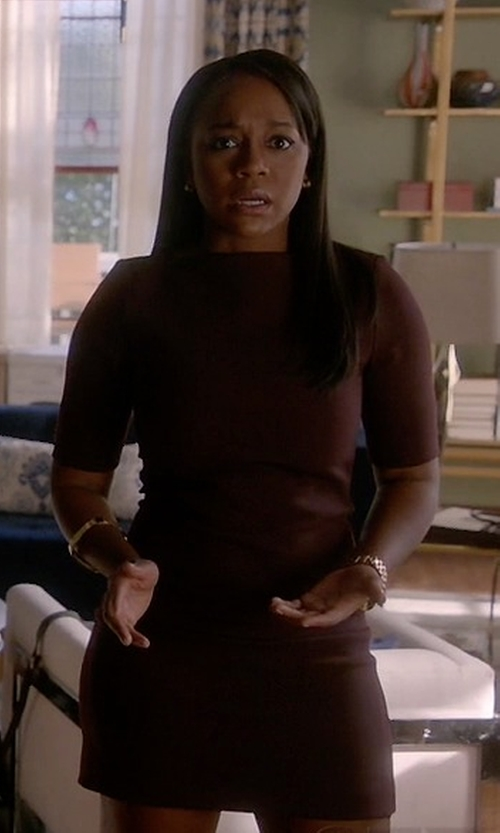 Aja Naomi King with Set Short-Sleeve Wool-Blend Dress in How To Get Away With Murder