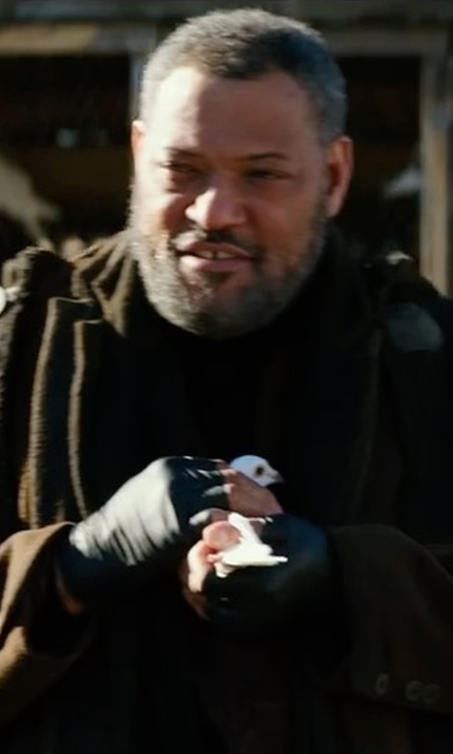 Laurence Fishburne with Vince Raw Edge Military Coat in John Wick: Chapter 2