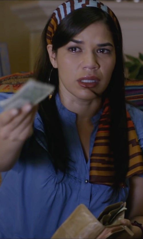 America Ferrera with New York & Co. Short Sleeve Ultra Soft Chambray Shirt in Special Correspondents